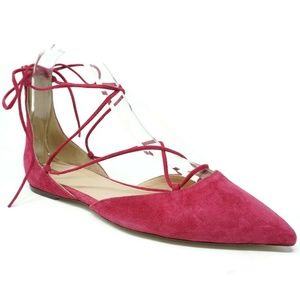 J Crew Lace-Up Pointed-Toe Flats Fuschia Size 6